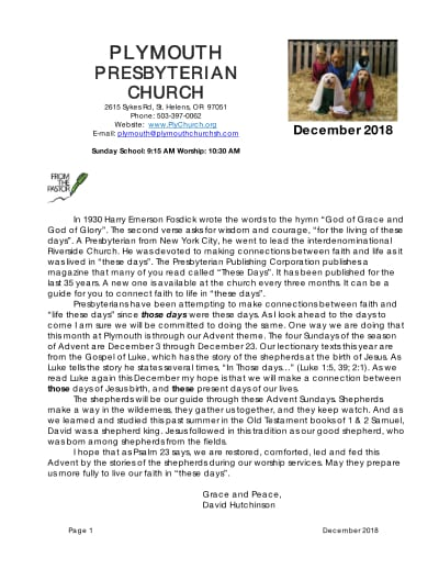 Plymouth Church | December_2018_newsletter