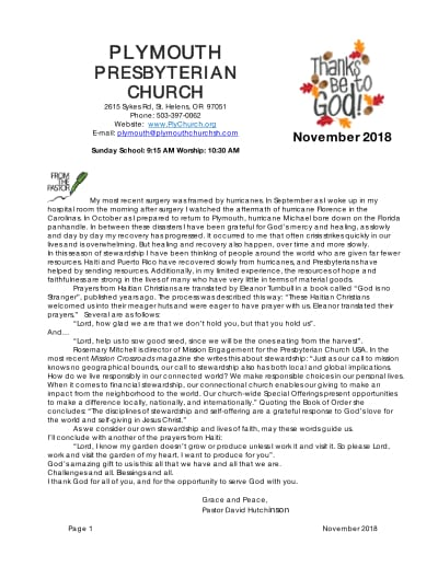 Plymouth Church | November_2018_newsletter