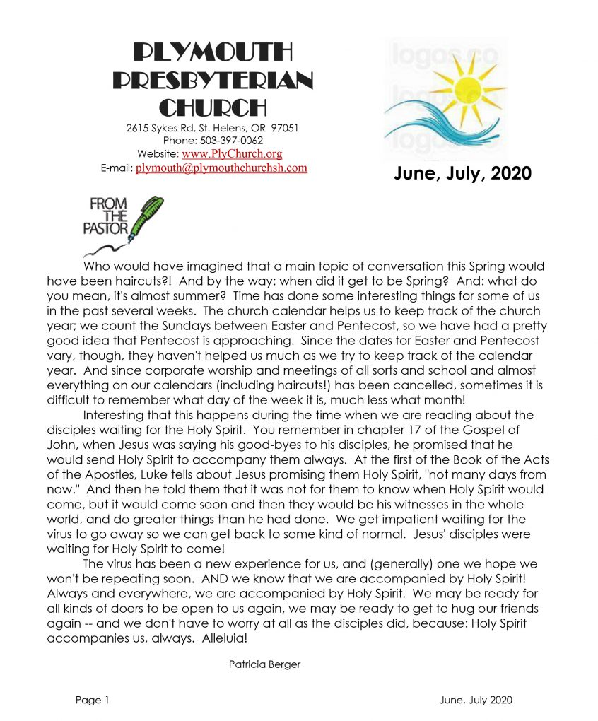 Newsletter cover page June & July