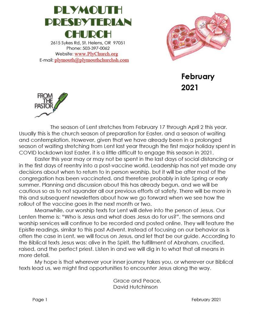February Newsletter 2021