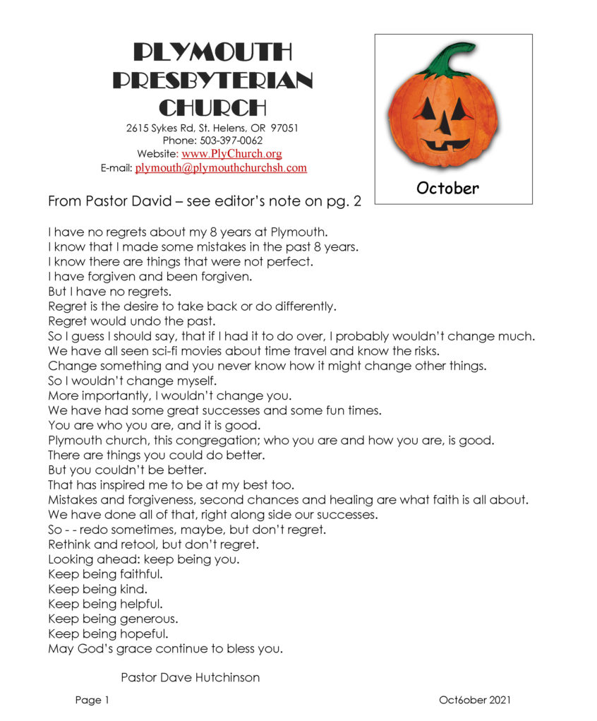 October Newsletter cover page